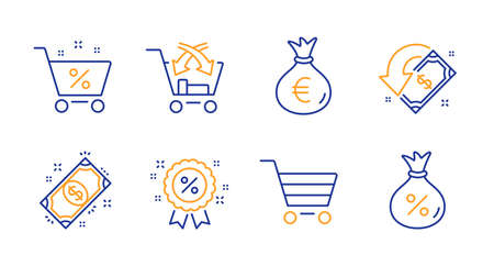 Market sale, Cross sell and Money bag line icons set. Cashback, Payment and Loan percent signs. Discount, Loan symbols. Customer buying, Market retail. Finance set. Line market sale icon. Vector Illustration
