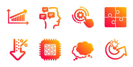 Messages, Low percent and Chart line icons set. Cogwheel settings, Puzzle and Speech bubble signs. Cpu processor, Share idea symbols. Notifications, Discount. Technology set. Vector