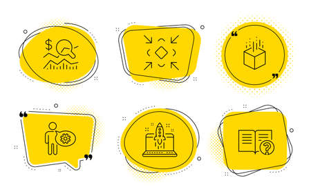 Check investment, Start business and Help signs. Chat bubbles. Augmented reality, Cogwheel and Minimize line icons set. Virtual reality, Engineering tool, Small screen. Business report. Vector Stock Vector - 133181004