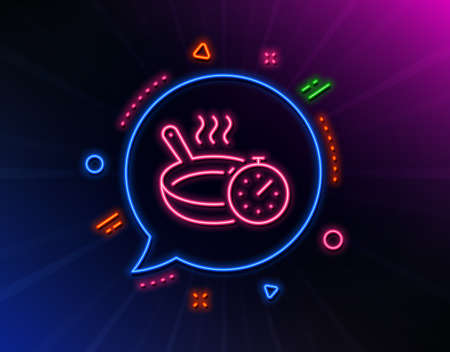 Frying pan line icon. Neon laser lights. Cooking timer sign. Food preparation symbol. Glow laser speech bubble. Neon lights chat bubble. Banner badge with frying pan icon. Vector 일러스트