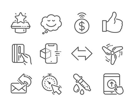 Set of Technology icons, such as Wind energy, Swipe up, Payment card, Augmented reality, Contactless payment, Timer, Like, Share mail, Winner podium, Sync, Speech bubble, Chemistry pipette. Vector Çizim