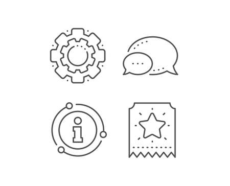 Loyalty star ticket line icon. Chat bubble, info sign elements. Bonus points. Discount program symbol. Linear loyalty ticket outline icon. Information bubble. Vector