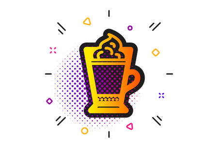 Hot drink sign. Halftone circles pattern. Latte coffee with Whipped cream icon. Beverage symbol. Classic flat latte coffee icon. Vector