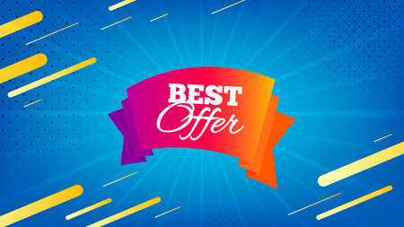 Best offer badge. Discount banner shape. Sale coupon tag icon. Abstract background. Modern concept design. Banner with offer badge. Vector 向量圖像