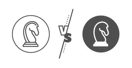 Marketing strategy symbol. Versus concept. Chess Knight line icon. Business targeting sign. Line vs classic marketing strategy icon. Vector Ilustração