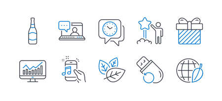 Set of Business icons, such as Organic tested, Star, Music phone, Friends chat, Surprise, Clock, Flash memory, Beer bottle, Statistics, Environment day line icons. Line organic tested icon. Vector