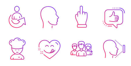 Like, Yummy smile and Middle finger line icons set. Teamwork, Head and Share signs. Cooking chef, Face id symbols. Thumbs up, Comic heart. People set. Gradient like icon. Vector