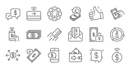 Money payment line icons. Accept transfer, Pay by Phone and Credit card. Cash linear icon set. Quality line set. Vector