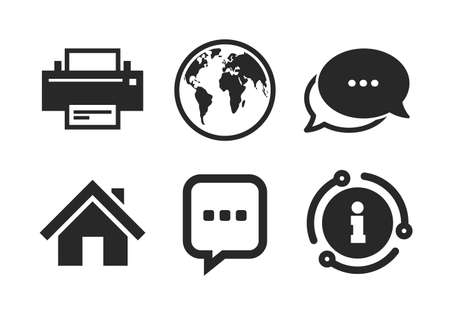 Printer and chat speech bubble with suspension points sign symbols. Chat, info sign. Home main page and globe icons. Classic style speech bubble icon. Vector
