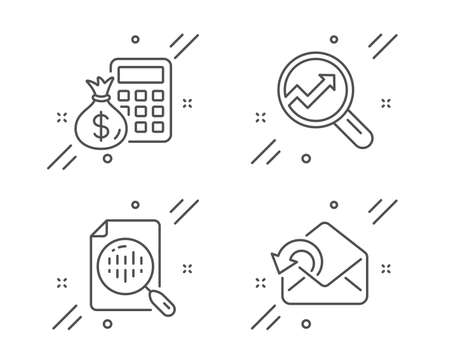 Analytics, Analytics chart and Finance calculator line icons set. Send mail sign. Audit analysis, Report analysis, Calculate money. Sent message. Education set. Line analytics outline icon. Vector