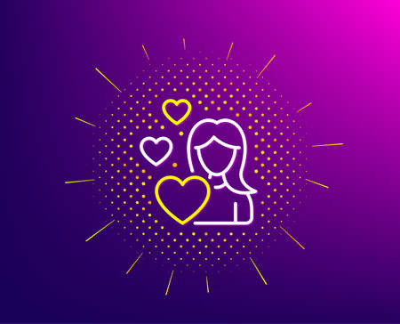 Woman in Love line icon. Halftone pattern. Heart sign. Valentines day symbol. Gradient background. Love line icon. Yellow halftone pattern. Vector