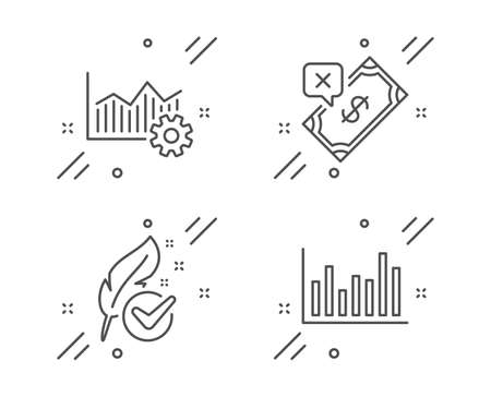 Operational excellence, Rejected payment and Hypoallergenic tested line icons set. Bar diagram sign. Corporate business, Bank transfer, Feather. Statistics infochart. Business set. Vector Illustration