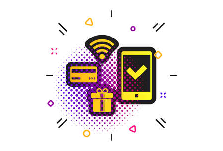 Wireless mobile payments icon. Halftone dots pattern. Smartphone, credit card and gift symbol. Classic flat mobile payments icon. Vector 向量圖像