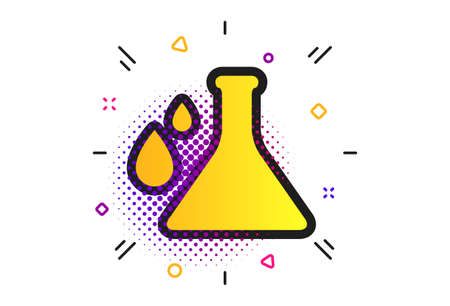 Chemistry sign icon. Halftone dots pattern. Bulb symbol with drops. Lab icon. Classic flat chemistry icon. Vector