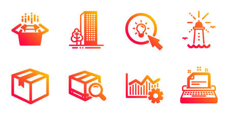 Operational excellence, Packing boxes and Search package line icons set. Buildings, Lighthouse and Energy signs. Parcel, Typewriter symbols. Corporate business, Delivery box. Industrial set. Vector