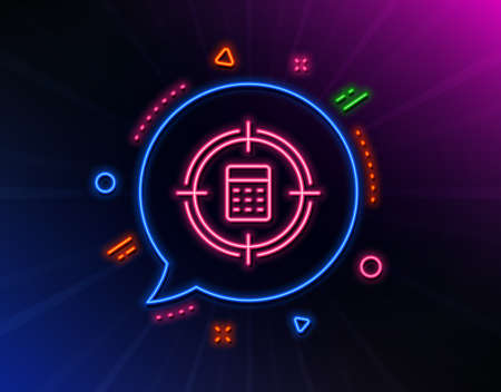 Calculator in target line icon. Neon laser lights. Accounting or Audit sign. Calculate finance symbol. Glow laser speech bubble. Neon lights chat bubble. Vector