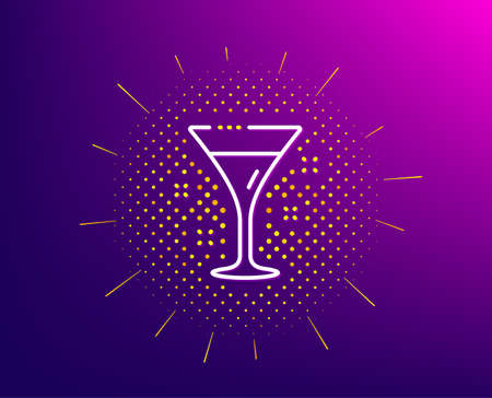 Cocktail glass line icon. Halftone pattern. Martini drink sign. Hotel service symbol. Gradient background. Cocktail line icon. Yellow halftone pattern. Vector