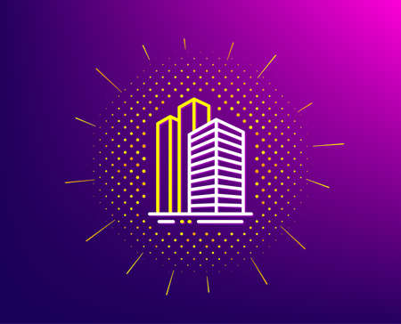 Skyscraper buildings line icon. Halftone pattern. City architecture sign. Town symbol. Gradient background. Skyscraper buildings line icon. Yellow halftone pattern. Vector