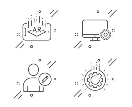 Edit user, Monitor settings and Augmented reality line icons set. Gear sign. Profile data, Service cogwheel, Phone simulation. Work process. Technology set. Line edit user outline icon. Vector