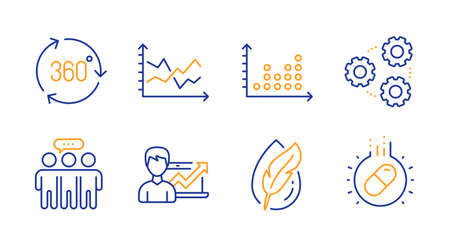 Employees group, Hypoallergenic tested and Diagram chart line icons set. Success business, Dot plot and 360 degree signs. Gears, Capsule pill symbols. Collaboration, Feather. Science set. Vector