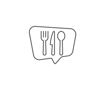 Food line icon. Chat bubble design. Cutlery sign. Fork, knife, spoon symbol. Outline concept. Thin line food icon. Vector