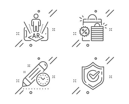 Project deadline, Shopping bags and Augmented reality line icons set. Confirmed sign. Time management, Sale discount, Phone simulation. Accepted message. Business set. Vector