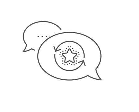 Loyalty star line icon. Chat bubble design. Change bonus points. Discount program symbol. Outline concept. Thin line loyalty points icon. Vector 向量圖像