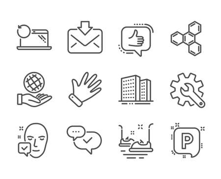 Set of Business icons, such as Incoming mail, Face accepted, Chemical formula, Bumper cars, Approved, Recovery laptop, Buildings, Safe planet, Like, Hand, Parking, Customisation. Vector