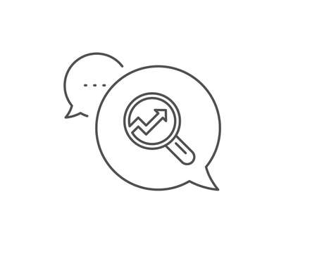 Chart line icon. Chat bubble design. Report graph or Sales growth sign in Magnifying glass. Analysis and Statistics data symbol. Outline concept. Thin line analytics icon. Vector