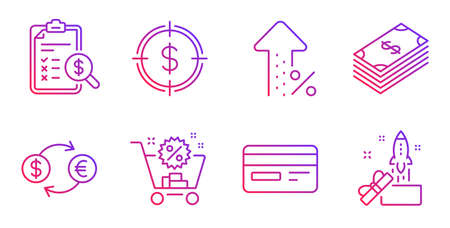 Credit card, Shopping cart and Increasing percent line icons set. Dollar, Dollar target and Currency exchange signs. Accounting report, Innovation symbols. Card payment, Discount. Vector Ilustração