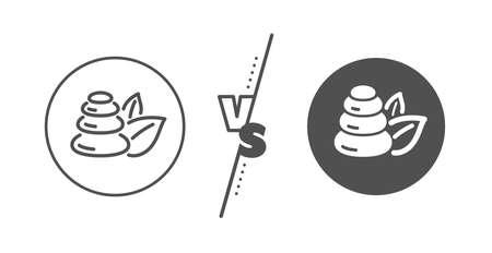 Bath resort sign. Versus concept. Spa stones line icon. Hotel service symbol. Line vs classic spa stones icon. Vector