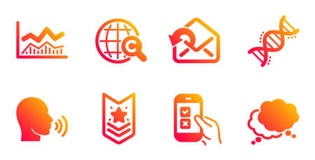 Human sing, Shoulder strap and Mobile survey line icons set. Send mail, International Ð¡opyright and Chemistry dna signs. Trade infochart, Speech bubble symbols. Talk, Star rank. Vector