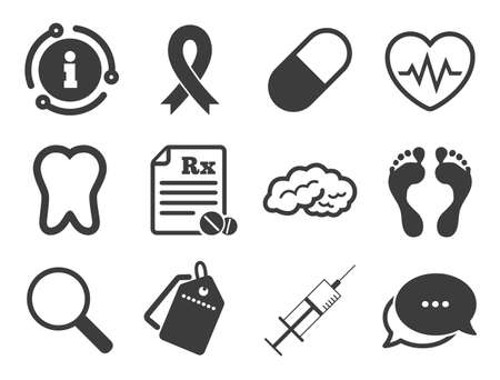 Syringe injection, heartbeat and pills signs. Discount offer tag, chat, info icon. Medicine, medical health and diagnosis icons. Tooth, neurology symbols. Classic style signs set. Vector
