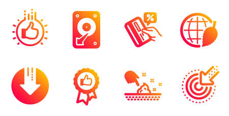 Skin moisture, Hdd and Credit card line icons set. Download arrow, Environment day and Like hand signs. Positive feedback, Targeting symbols. Wet cream, Hard disk. Business set. Vector