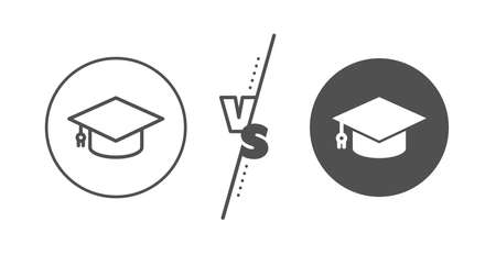 Education sign. Versus concept. Graduation cap line icon. Student hat symbol. Line vs classic graduation cap icon. Vector