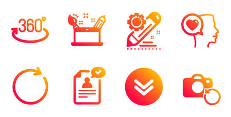Full rotation, Synchronize and Scroll down line icons set. Project edit, Romantic talk and Resume document signs. Creativity concept, Recovery photo symbols. 360 degree, Refresh or update. Vector