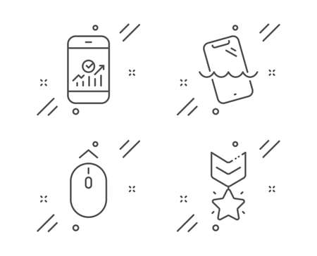 Swipe up, Smartphone statistics and Smartphone waterproof line icons set. Winner medal sign. Scrolling page, Mobile business, Phone. Ranking star. Technology set. Line swipe up outline icon. Vector Illustration