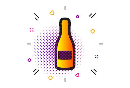 Anniversary alcohol sign. Halftone circles pattern. Champagne bottle icon. Celebration event drink. Classic flat champagne bottle icon. Vector Ilustração