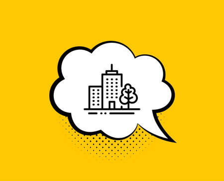 Skyscraper buildings line icon. Comic speech bubble. City architecture with tree sign. Town symbol. Yellow background with chat bubble. Skyscraper buildings icon. Colorful banner. Vector Illustration