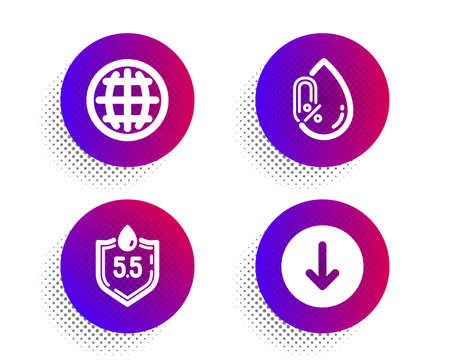 No alcohol, Globe and Ph neutral icons simple set. Halftone dots button. Scroll down sign. Mineral oil, Internet world, Water. Swipe arrow. Business set. Classic flat no alcohol icon. Vector