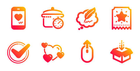 Copyright chat, Boiling pan and Swipe up line icons set. Loyalty ticket, Heart and Love chat signs. Confirmed, Get box symbols. Speech bubble, Cooking timer. Technology set. Vector