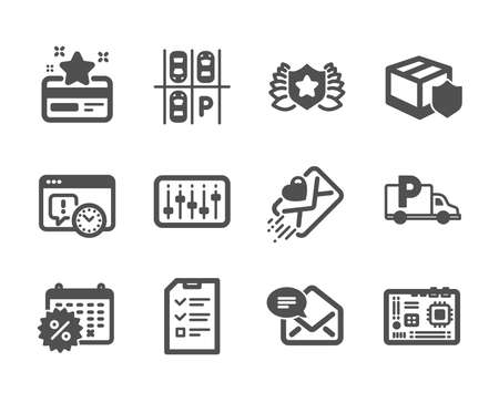 Set of Business icons, such as Laureate, New mail, Truck parking, Project deadline, Motherboard, Calendar discounts, Interview, Love letter, Parking place, Loyalty card, Delivery insurance. Vector
