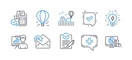 Set of Technology icons, such as Air balloon, Roller coaster, Presentation board, Receive mail, Inspiration, Rfp, Bill accounting, Medical chat, Confirmed, Online shopping line icons. Vector