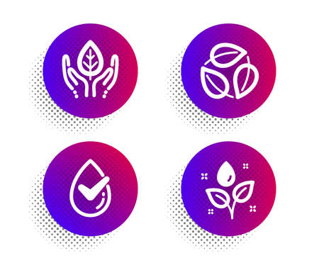 Dermatologically tested, Leaves and Fair trade icons simple set. Halftone dots button. Plants watering sign. Organic, Nature leaf, Safe nature. Water drop. Healthcare set. Vector