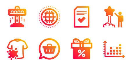 Shopping cart, Star and Globe line icons set. Attraction, Dirty t-shirt and Discount offer signs. Checked file, Dot plot symbols. Dreaming of gift, Launch rating. Business set. Vector