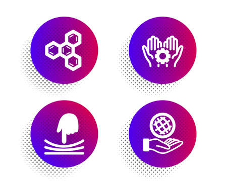 Elastic, Chemical formula and Employee hand icons simple set. Halftone dots button. Safe planet sign. Resilience, Chemistry, Work gear. Ecology. Science set. Classic flat elastic icon. Vector Vetores