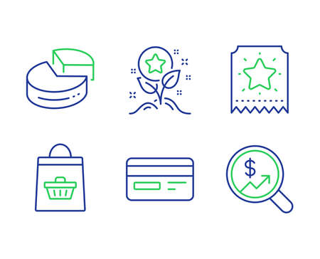 Loyalty points, Credit card and Online buying line icons set. Loyalty ticket, Pie chart and Currency audit signs. Bonus grows, Card payment, Shopping cart. Bonus star. Finance set. Vector