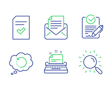 Typewriter, Mail correspondence and Rfp line icons set. Checked file, Recovery data and Search signs. Instruction, E-mail newsletter, Request for proposal. Correct document. Technology set. Vector