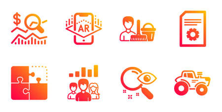 Teamwork results, Search and Check investment line icons set. Cleaning service, Puzzle and Augmented reality signs. File settings, Tractor symbols. Group work, Find document. Business set. Vector