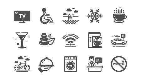 Hotel service icons. Wi-Fi, Air conditioning and Coffee maker machine. Spa stones, swimming pool and hotel parking icons. Classic set. Quality set. Vector